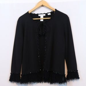 WHBM Black Beaded Open Front Fringe Cardigan
